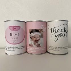 写真、名入れができる 保存食 出産内祝い パンですよ! ピンク